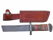 "Pioneer Custom Made Damascus Steel Hunting Knife,with File Work Guard 11""pt-134"