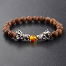 8MM Natural Wooden Bead Silver Dragon Head Men's Bracelets Personality Jewelry
