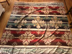 Vintage Beacon STYLE Camp Blanket 76 x 70 Green and Red Native American Design