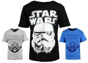 New Boys Official Star Wars Storm Trooper & Yoda T-Shirt Tops Age 18 m - 14 yrs