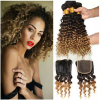 Real Deep Wave Human Hair Ombre Hair T1B/4/27 With 4*4 closure 4pc Extensions