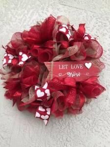 Valentine's Day Red & White Burlap Deco Mesh, Front Door Wreath