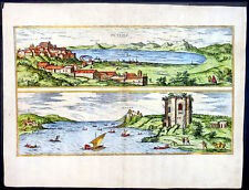 1575 Braun & Hogenberg Old Antique Print View of Pozzuoli Bay in Naples, Italy