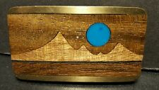 KENNETH REID INLAID BELT BUCKLE TURQUOISE,BRASS & WOOD NEW MEXICO SOUTHWEST ART