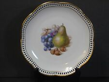 """SCHUMANN Fruit Pattern Plate Reticulated Scalloped Gold Edged 7"""", Germany, Mint!"""