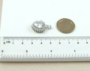 Solid 4gm's 925 Sterling Silver 15mm Cubic Zirconia CZ Set Heart Pendant Only