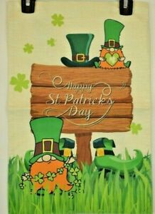 "Happy St. Patrick's Day Garden Flag Double Sided Nylon Burlap 12"" x 18"""