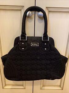 Vera Bradley Women's Black Quilted Shoulder Bag purse w/Silver Hardware floral