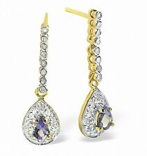 Tanzanite and Diamond Earrings Yellow Gold Drops  Appraisal Certificate