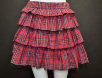 Brand New Ladies Atmosphere Red Tartan Tiered Mini Skirt Size 10