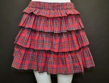 Brand New Ladies Atmosphere Red Tartan Tiered Mini Skirt Size 10