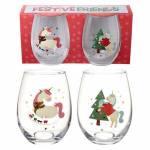 Set of 2 Christmas Glass Unicorn Cute Design