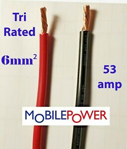 6mm² Tri rated Cable 53a 12v 24v  Red or Black By the Metre