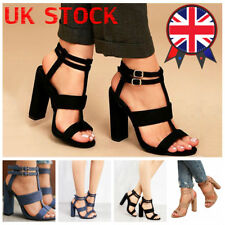 UK Women Chunky High Heels Sandals Ankle Strap Buckle Open Toe Casual Shoes Size