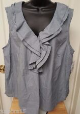 Tommy Hilfiger NWT Womens Blue White Jean LOOK Shirt Top Blouse Size 22