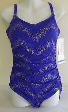 Coco Reef Swimsuit 1PC Shirred Maillot Royal Blue Gold Specks Ruched 36C NWT$110