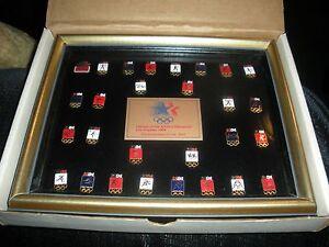 Framed Olympic Pin Set 1984 Los Angeles Summer Games, Vintage, Sochi