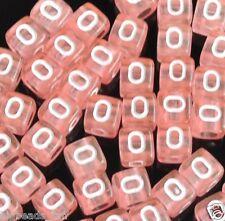 50pcs pink 6mm single alphabet/letter cube acrylic beads  O