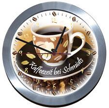 168 F☕FUNKUHR☕ALU★EINSCHULUNG★Glas☕Kaffeezeit-Wanduhr☕Küche☕Kaffee☕Coffee-Time
