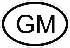 GM THE GAMBIA COUNTRY CODE OVAL STICKER bumper decal