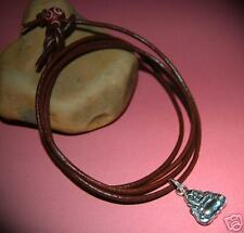Brown Leather Surf Bracelet/Cuff/Wrap/Wristband Tibetan Silver Buddha/Buddah