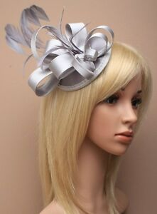 Large Silver Satin Hat Fascinator Clip Feather Ladies Day Races Wedding Ascot 17