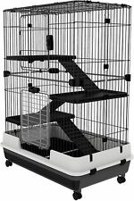 Large 4-Level Pet Cage Rabbit Small Animal Ferret Shelter 3 Doors Casters Mobile