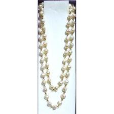 Collar Perlas Naturales blancas 75cm certificado de autenticidad chapado en oro