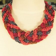 "18"" Red Multi Color Braided Collar Choker Style Handmade Seed Bead Necklace"