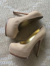 YSL Saint Laurent Tribute Two Beige Gold Leather Round Toe Heels 38.5/8 GUC 900$