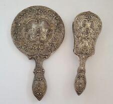 Vintage Hand Mirror and Brush Set Plated Silvertone Vanity