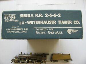 Ho Logging, PFM 2-6-6-2 Weyerhouser Lumber Brass steam engine in mint condition