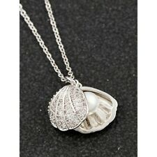 Equilibrium Seashore Pearl Shell Platinum Plated Necklace Gift Box Valentines