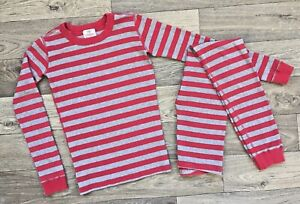 Hanna Andersson EUC Long John Red/Gray Striped PJ Set Size 150 (12)