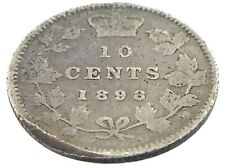 1898 Canada Ten 10 Cent Silver Dime Canadian Circulated Victoria Coin M092
