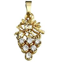 18K Yellow Gold Diamond Pendant Filigree Grape Cluster Chain Necklace