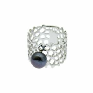 Pearl Ring Sterling Silver Lattice Work Band Black Cultured Pearl Size L N