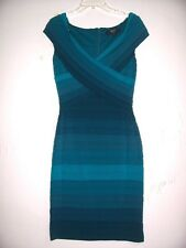 New TADASHI COLLECTION S Teal Ombre Tiered Stretchy Bandage Crossover V Dress