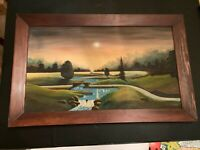 Vintage River Landscape Oil Painting On Canvas In Wood Frame by Austin Sarff