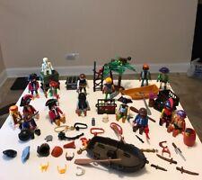 Playmobil Pirate Figure Lot W/ Weapons Flags Hats Monkeys Skeleton Trees
