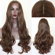 Brown Body Wave Women Remy Silk Top None Lace Wigs Pre Plucked Natural Hairline