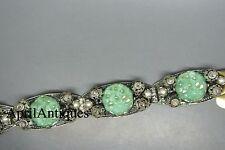 Vintage art deco Czech carved green peking glass marcasite filigree bracelet
