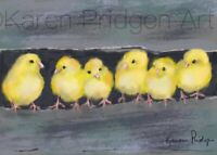 ACEO ATC Art Card Painting Print Signed My Peeps Chicks Chickens Farm Animals