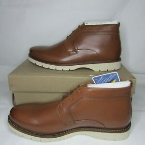 Clarks Mens Dark Tan Leather Bayhill Mid Chukka Boots Shoes Size 11.5
