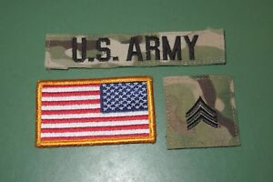 Lot of 3 US Army Multicam OCP Rank Branch Insignia Combat Uniform Patches SGT