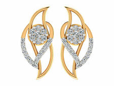 0.27CT Certified Natural DIAMOND 14k Real yellow gold Leaf Stud earrings Jewelry
