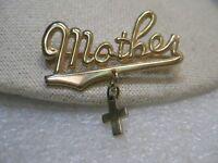 "Vintage Mother & Cross Brooch, 1960's, Gold Tone, 1.75"""