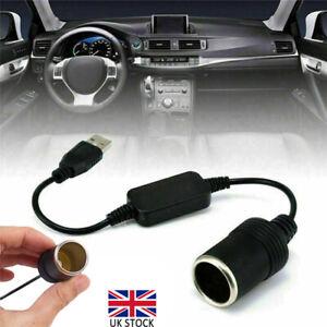 5V USB Male To Female 12V Socket Car Cigarette Lighter Converter Adapter Black