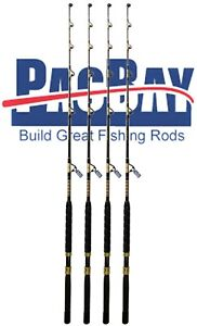 Xcaliber Marine Set (4) Tournament Series 80-130lb Trolling Rod Red and Gold