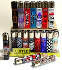 More details for 40 x clipper lighters random design with tray gas lighter rare refillable set